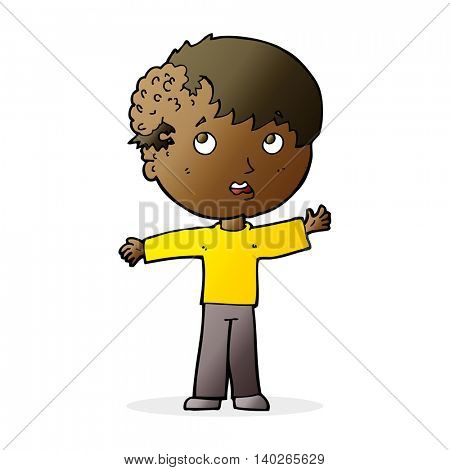 cartoon boy with growth on head