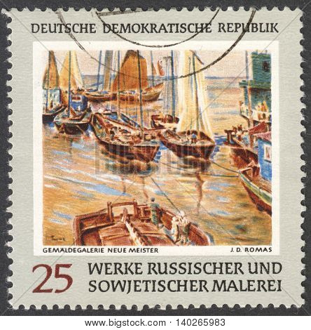 MOSCOW RUSSIA - CIRCA FEBRUARY 2016: a stamp printed in DDR shows a painting by Romas the series