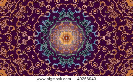 Decorative floral tracery ancient Arabic pattern on a purple background