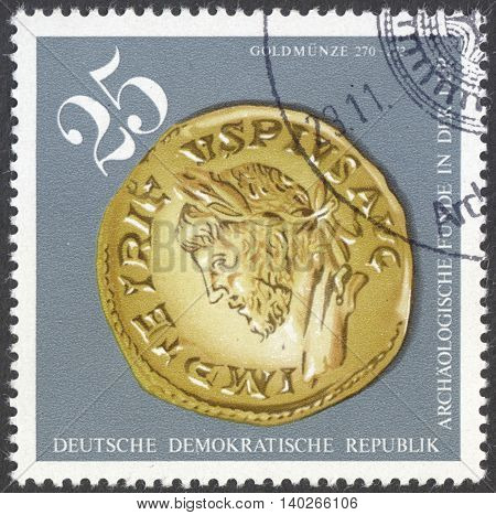 MOSCOW RUSSIA - CIRCA FEBRUARY 2016: a stamp printed in DDR shows an archaeological artifact the series
