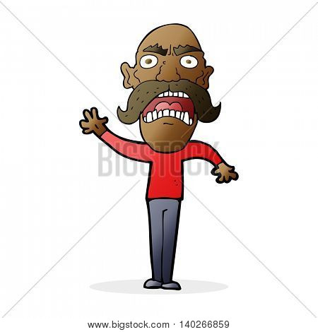 cartoon angry old man