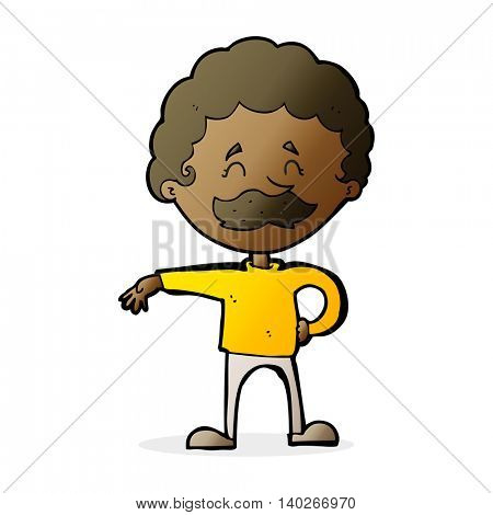 cartoon man making camp gesture