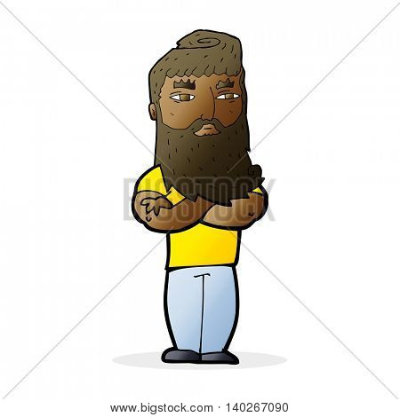 cartoon serious man with beard