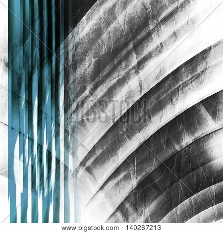 Abstract square geometric background with intersected circles over old paper texture multi exposure 3d illustration