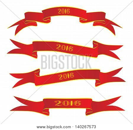 A collection of 4 red ribbon banners isolated over a white background with the legend 2016