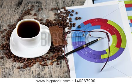 Financial Graphs Cup Of Coffee And Chocolate