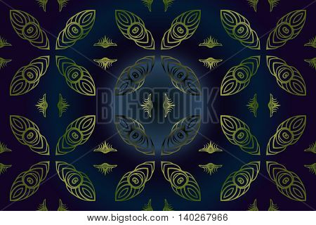 Seamless abstract floral pattern of green color on a dark blue background of the elements of geometric figures