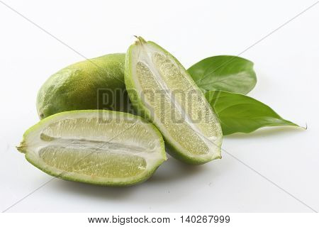 Green sliced lime on white background with herbs