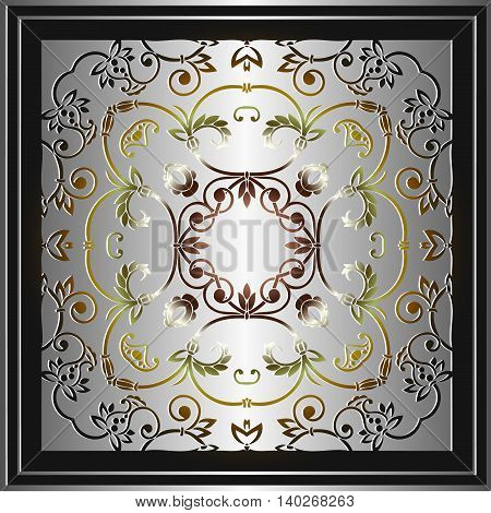 symmetrical floral vintage decor on a light background in frame