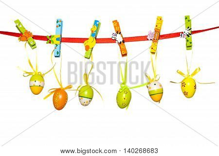 Easter eggs hanging on the rope as a decoration