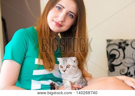Baby cat laying on woman legs. Gray kitten, a favorite of the beautiful hostess. Morning