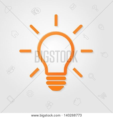 Light bulb. Idea sign. Solution, Inspiration concept. Business line icons on white background. Template for your creative design, print, booklet, brochure, website, mobile app. Vector illustration.