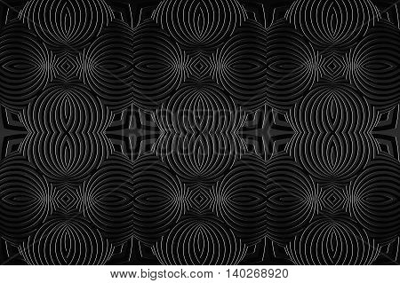 Decorative lace pattern endless repeating texture. Black background