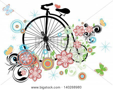 Old Bicycle And Floral Ornament