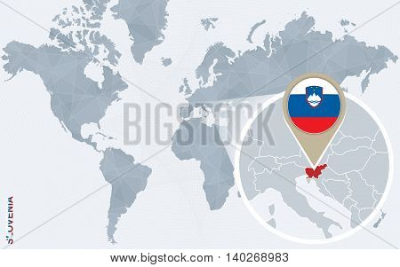 Abstract Blue World Map With Magnified Slovenia.
