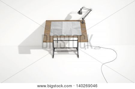 Drafting Desk Lamp And Paper