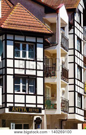 Kolobrzeg Poland - June 23 2016: Half-timbered construction house.