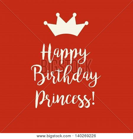 Cute Happy Birthday Cutie Pie card with a text and a princess crown on a redbackground.