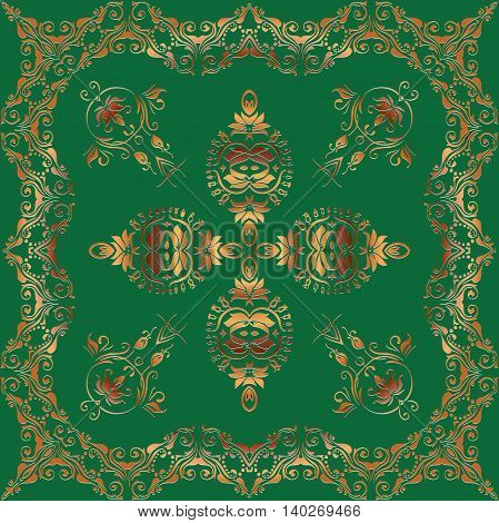 Abstract graphic embossed gold pattern square frame with Mandala geometric ornament.na green background