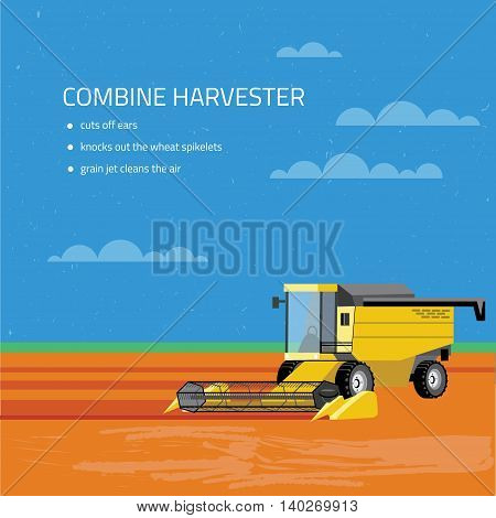 Illustration of Cargo and combine machine. Perfect for companies related to the eco eating, and to create infographics