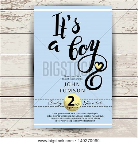 Baby shower invitation with golden detail. Hand lettering it's a boy in vector
