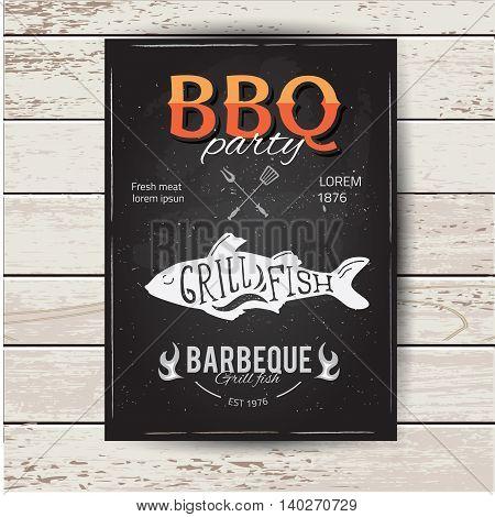 Barbecue party invitation. BBQ brochure menu design eps10