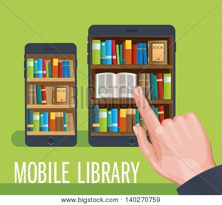 Mobile library collection of books in the smartphone phone app bookstore