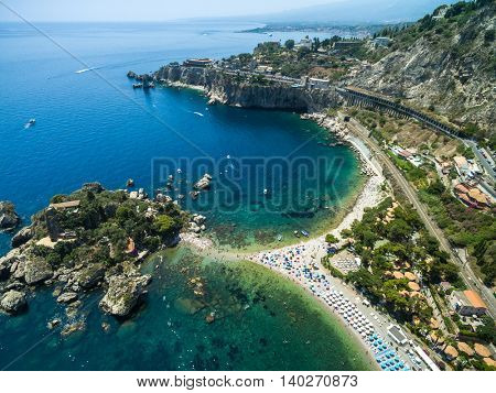 Aerial View of island Isola Bella at Taormina, Sicily