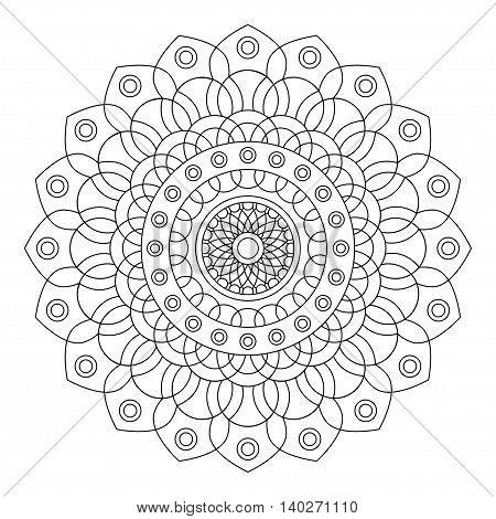 Floral mandala on white background, vector illustration