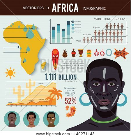 Africa - infographics with data icons, elements and illustrations.  background with african men