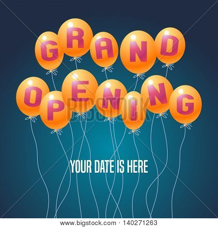 Grand opening vector illustration background for new store club etc with balloons. Template poster banner backdrop invitation flyer for opening ceremony