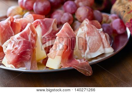 Jamon With Melon And Grape