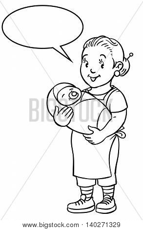 Coloring book of funny smiling woman, nanny or mother with a baby. Profession ABC series. Children vector illustration. With balloon for text.