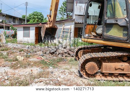 bucket Excavator.  destruction in Work outdoor  construction