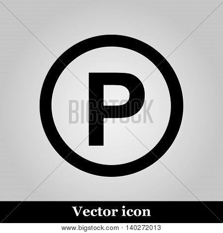 Parking icon, vector illustration on grey background