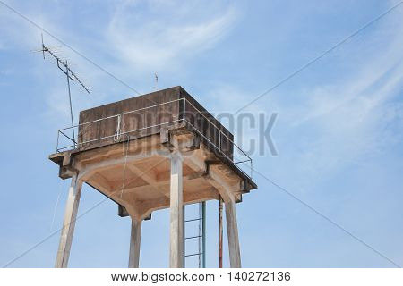 Water tank  for agriculture with blue sky background