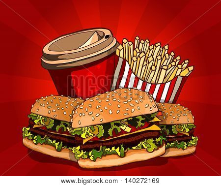 Fast food vector illustration. Burger, fried potato and cola. Food collection.