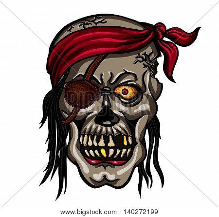 Danger pirate skull in bandane for tattoo or t-shirt design