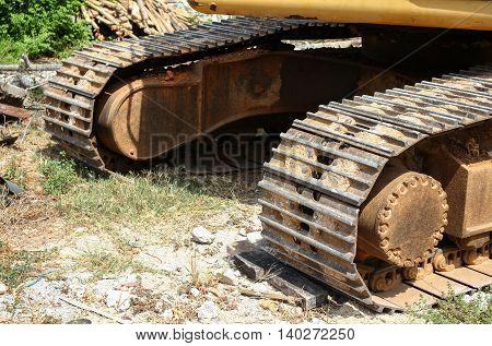 bucket Excavator.  destruction in Work outdoor  construction