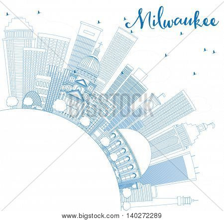 Outline Milwaukee Skyline with Blue Buildings and Copy Space. Vector Illustration. Business Travel and Tourism Concept with Modern Buildings. Image for Presentation Banner Placard and Web Site.