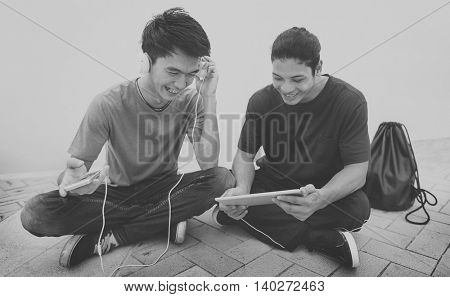 Guy Friends Chilling Headphones Tablet Concept