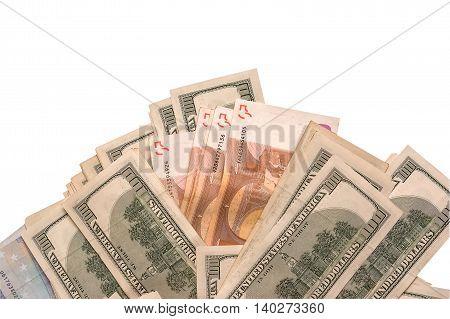 Dollar and euro cash isolated on white background