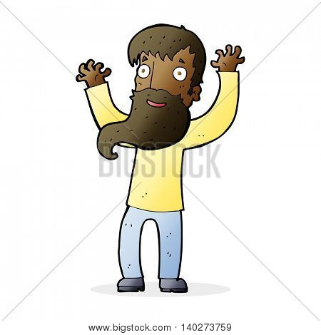 cartoon excited man with beard