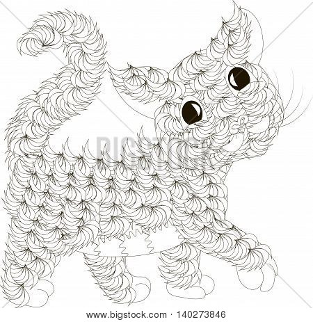 Zentangle stylized black and white fluffy cat, hand drawn, vector illustration