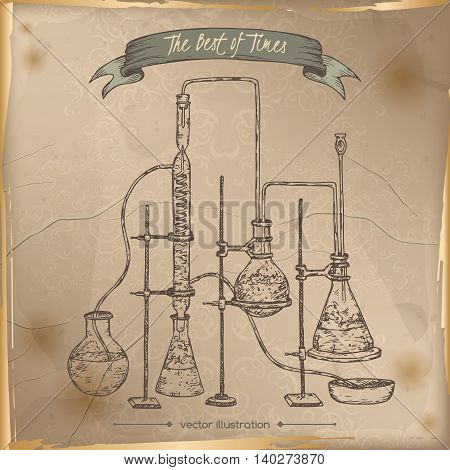 Antique chemistry lab equipment hand drawn sketch placed on old paper background. Vintage collection. Great for school, education, lab, retro design.