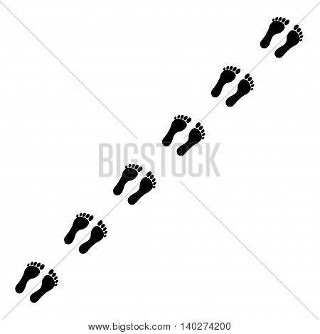 Footprints vector icon on grey background, vector illustration