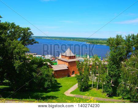 Nizhny Novgorod Kremlin tower. View of the Volga. Russia.