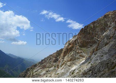 peak in a mountain gorge in southern Kazakhstan