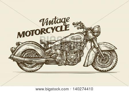 Vintage motorcycle. Hand-drawn sketch retro motorbike. Vector illustration