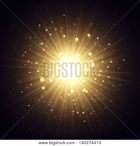 Vector explosion illustration. Golden rays and sparkles on dark background.